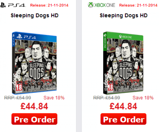 Sleeping Dogs PS4 Xbox One