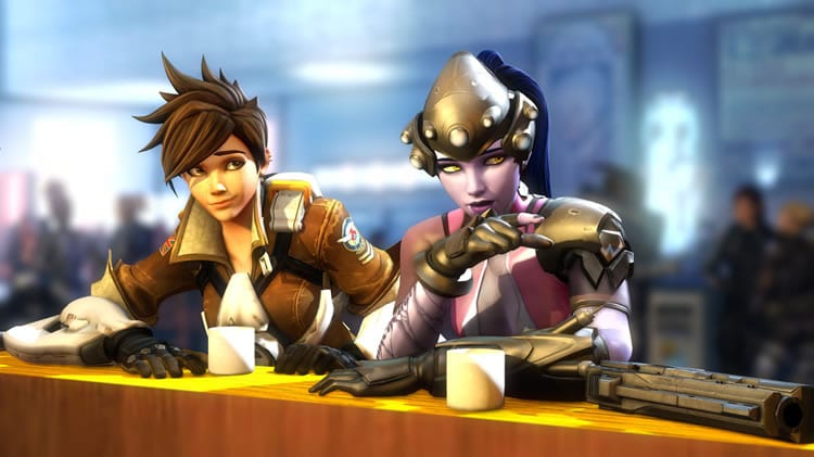 overwatch fan art tracer y widowmaker