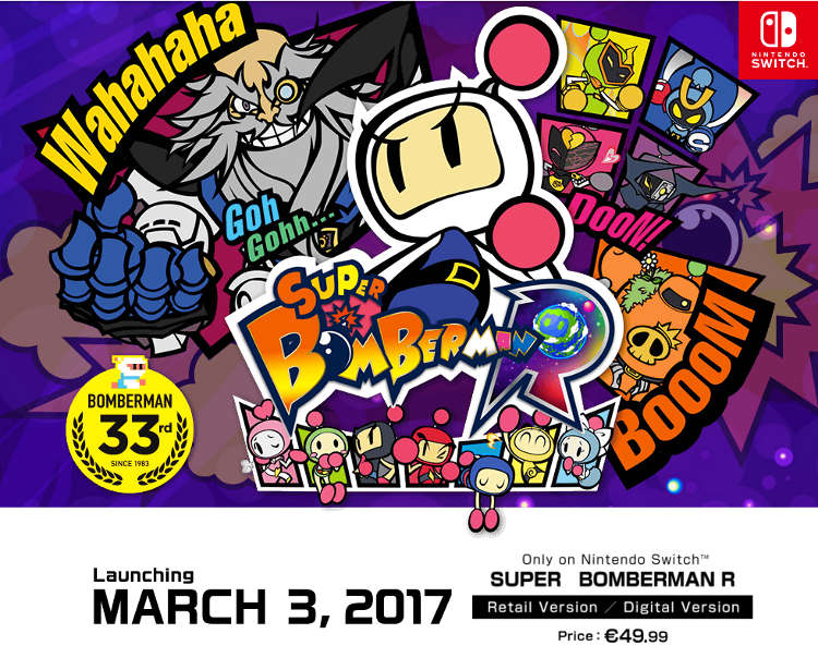 Super Bomberman R confirma su precio oficial en Nintendo Switch