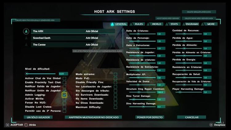 trucos y comandos de Ark: Survival Evolved