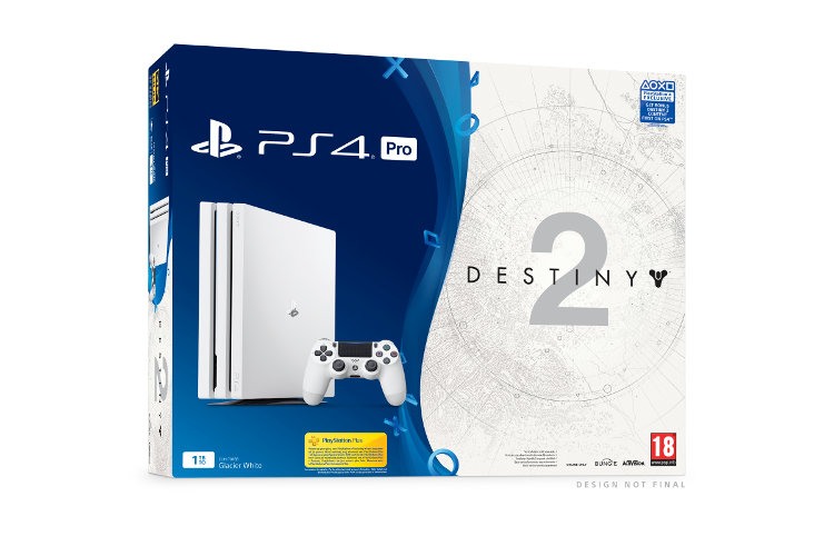 pack de una Playstation 4 Pro blanca y Destiny 2