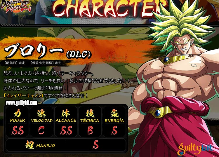 Estadísticas de los personajes de Dragon Ball FighterZ Broly