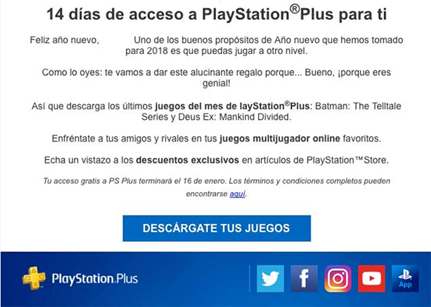 14 días de PlayStation Plus gratis