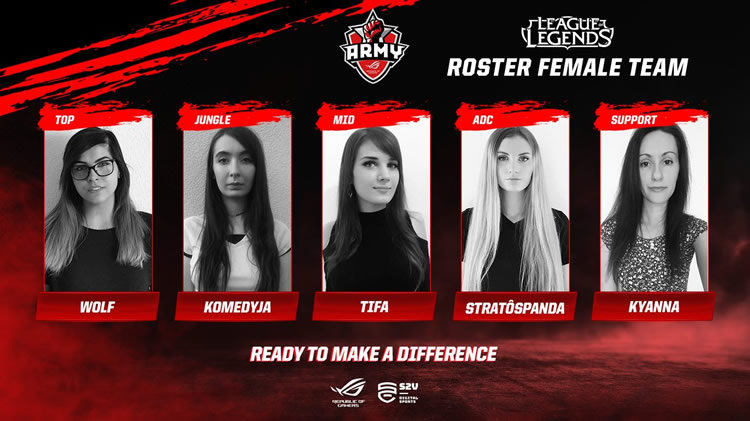 equipo femenino de leage of legends de ASUS ROG Army