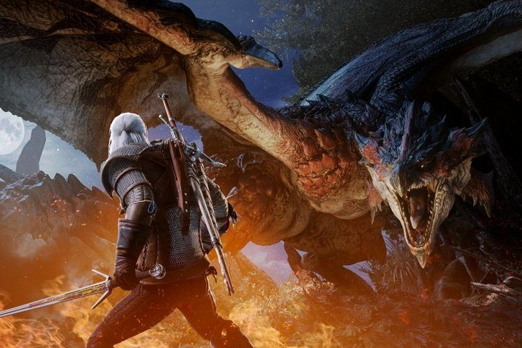 Geralt de Rivia en Monster Hunter World el 8 de febrero