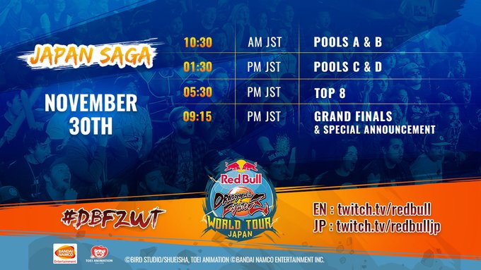 Red Bull Dragon Ball FighterZ Japan saga, horario del torneo