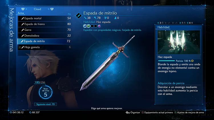 todas las armas de Cloud en Final Fantasy VII Remake