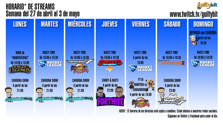 Horario de streams de Twitch Semana del 27 de abril al 3 de mayo