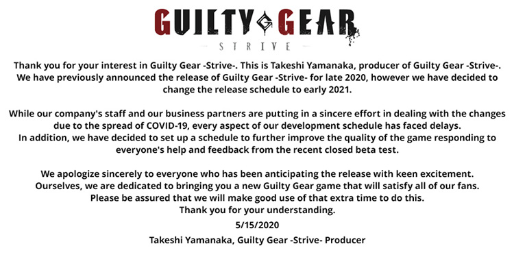 Guilty Gear Strive se retrasa a principios de 2021 por el COVID-19