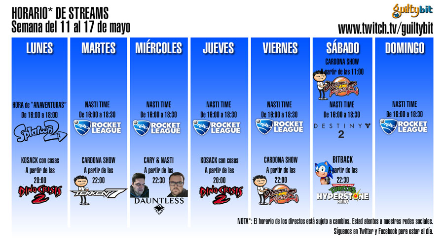 Horario de Streams de Twitch, semana del 11 al 17 de Mayo