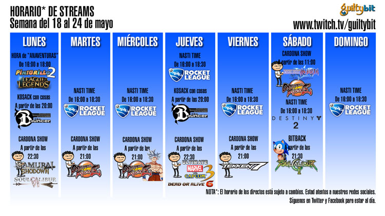 Horario de streams de Twitch Semana del 18 al 24 de mayo
