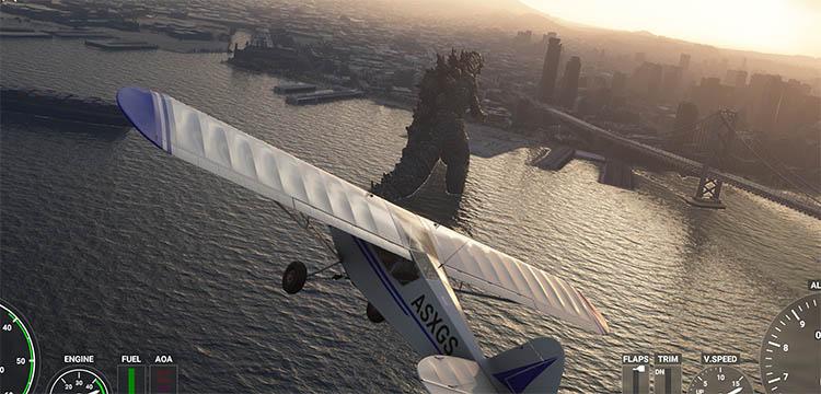 Godzilla en Flight Simulator